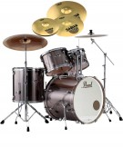 Pearl Export EXX, EXX725FBR/C21, 5-Piece Drum Set with Hardware and Sabian SBr Cymbals Set, Smokey Chrome