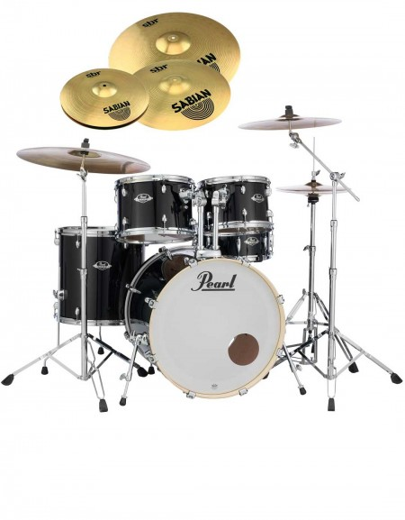 Pearl Export EXX, EXX705NBR/C31, 5-Piece Drum Set with Hardware and Sabian SBr Cymbals Set, Jet Black