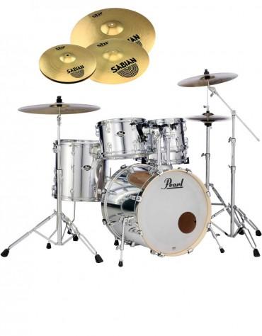 Pearl Export EXX, EXX725SBR/C49, 5-Piece Drum Set with Hardware and Sabian SBr Cymbals Set, Mirror Chrome