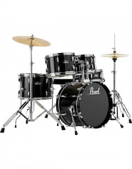 Pearl Road Show RS505C/C31, 5-Piece Drum Set with Hardware and Cymbals Set, Jet Black