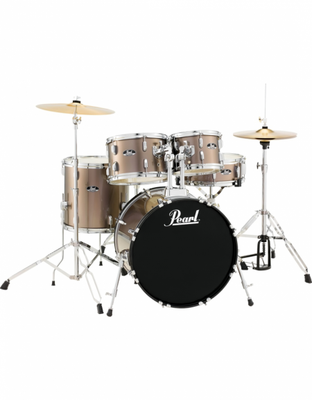 Pearl Road Show RS505C/C707, 5-Piece Drum Set with Hardware and Cymbals Set, Bronze Metallic
