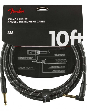 Fender 10ft Deluxe Series Instrument Cable Angle, Black Tweed