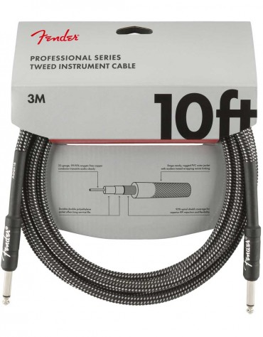Fender 10ft Professional Series Instrument Cable, Gray Tweed