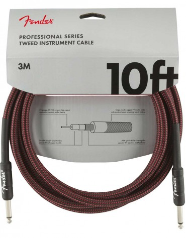 Fender 10ft Professional Series Instrument Cable, Red Tweed