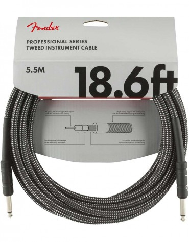 Fender 18.6ft Professional Series Instrument Cable, Gray Tweed