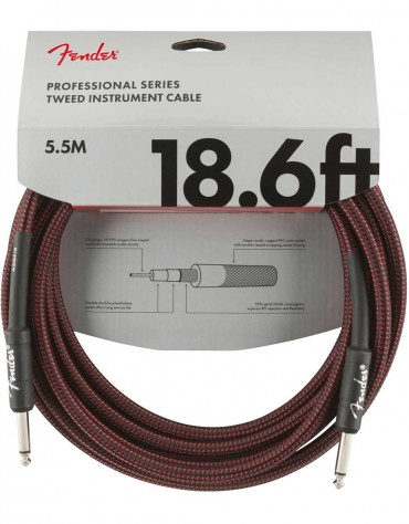 Fender 18.6ft Professional Series Instrument Cable, Red Tweed