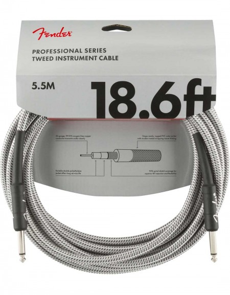 ender 18.6ft Professional Series Instrument Cable, White Tweed