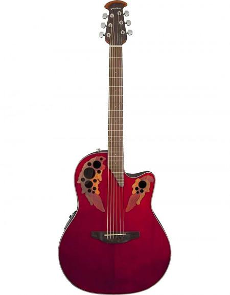 Ovation CE44-RR Celebrity® Elite, Mid-Depth Cutaway, Ruby Red