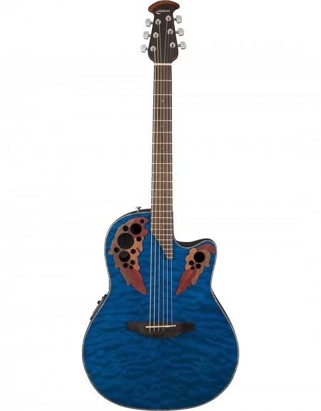 Ovation CE44P-8TQ Celebrity® Elite Plus, Mid-Depth Cutaway, Trans Blue Quilt Maple