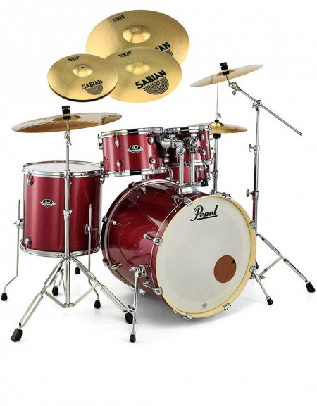Pearl Export EXX, EXX705NBR/C704, 5-Piece Drum Set with Hardware and Sabian SBr Cymbals Set, Black Cherry Glitter