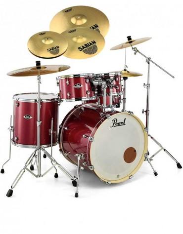 Pearl Export EXX, EXX725SBR/C704, 5-Piece Drum Set with Hardware and Sabian SBr Cymbals Set, Black Cherry Glitter