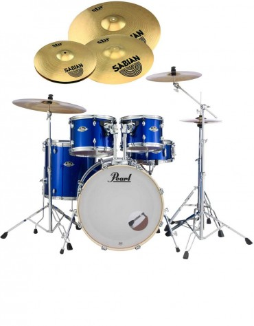Pearl Export EXX, EXX725SBR/C717, 5-Piece Drum Set with Hardware and Sabian SBr Cymbals Set, High Voltage Blue