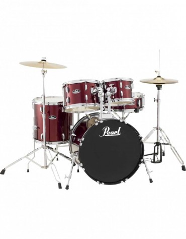 Pearl Road Show RS525SC/C91, 5-Piece Drum Set with Hardware and Cymbals Set, Red Wine