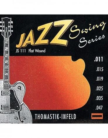 Thomastik 676.717 Strings For Electric Guitar Jazz Swing Series Nickel Flat Wound (.011-.047)