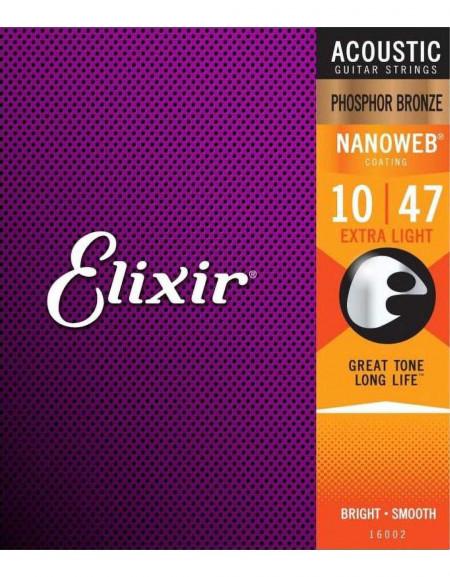 Elixir 16002 Phosphor Bronze with NANOWEB Acoustic Guitar Strings (10-47)
