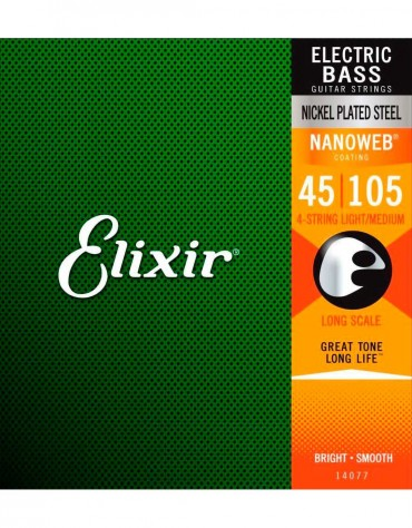 Elixir 14077, Long Scale 4 Set (.045-.105) Bass Strings