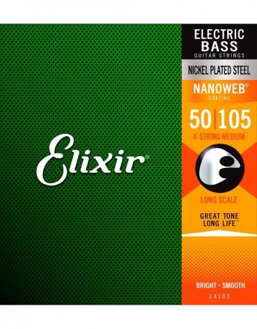 Elixir 14102, Long Scale Nanoweb Coating (.050-.105) 4 Set Bass Strings