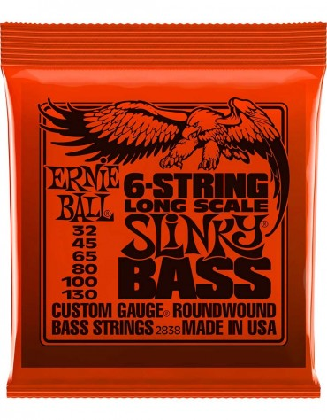 ERNIE BALL P02838 (.032-.130), SLINKY LONG SCALE 6-STRING NICKEL WOUND ELECTRIC BASS STRINGS