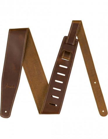 "Fender Broken-In Leather Strap, 2.5"", Tan"