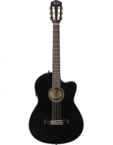 Fender CN-140SCE, Rosewood, Black, Includes hardshell case