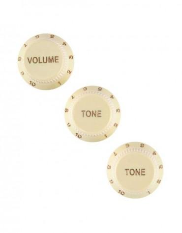 Fender Stratocaster® Knobs, Aged White (Volume, Tone, Tone) (3)
