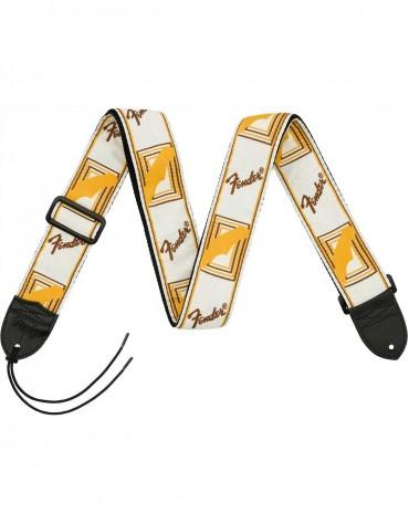 "Fender® 2"" Monogrammed Strap, White/Brown/Yellow"