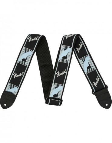 "Fender® 2"" Monogrammed Straps, Black/Light Grey/Blue"