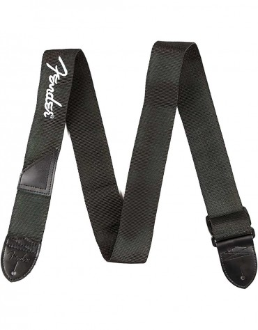 Fender® Black Polyester Logo Straps, Black with Fender Logo