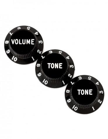 Fender Stratocaster® Knobs, Black (Volume, Tone, Tone) (3)