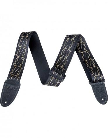 Gretsch Double Penguin Pattern Strap, Black / Gold