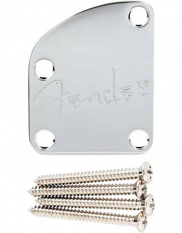 Fender® Deluxe Contoured Heel Neck Plate With Spaghetti Logo, Chrome