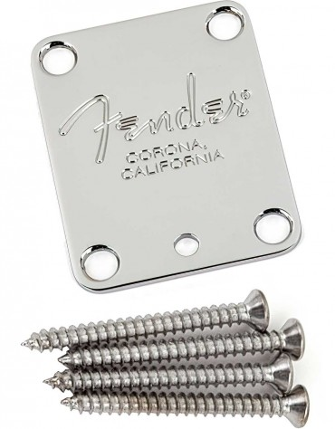 """Fender 4-Bolt American Series Guitar Neck Plate with """"Fender Corona"""" Stamp"""